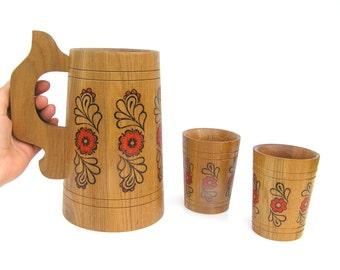 Large Jug Cup Set Wood Beer Jug Soviet Vintage, Gift for Beer Lover, Wood Pint Glasses, Wood Beer Glasses