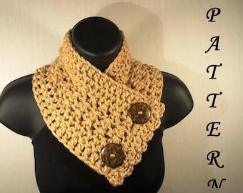 Crochet Pattern, Crochet Scarf Pattern, Neckwarmer, Button Scarf, Button Cowl, Crochet Cowl Pattern, Crochet Scarf, #111