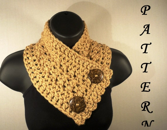 Crochet Scarf Pattern With Button : Crochet Pattern Crochet Scarf Pattern by VillaYarnDesigns ...