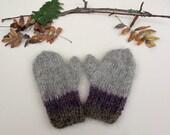 Hand knitted organic wool mittens for children. Autumn fashion. Winter fashion.