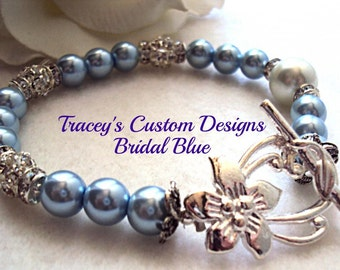Something Blue Bridal Bracelet - CUSTOM MADE JEWELRY