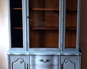 vintage Bassett Furniture hand painted distressed wood shabby chic china cabinet hutch