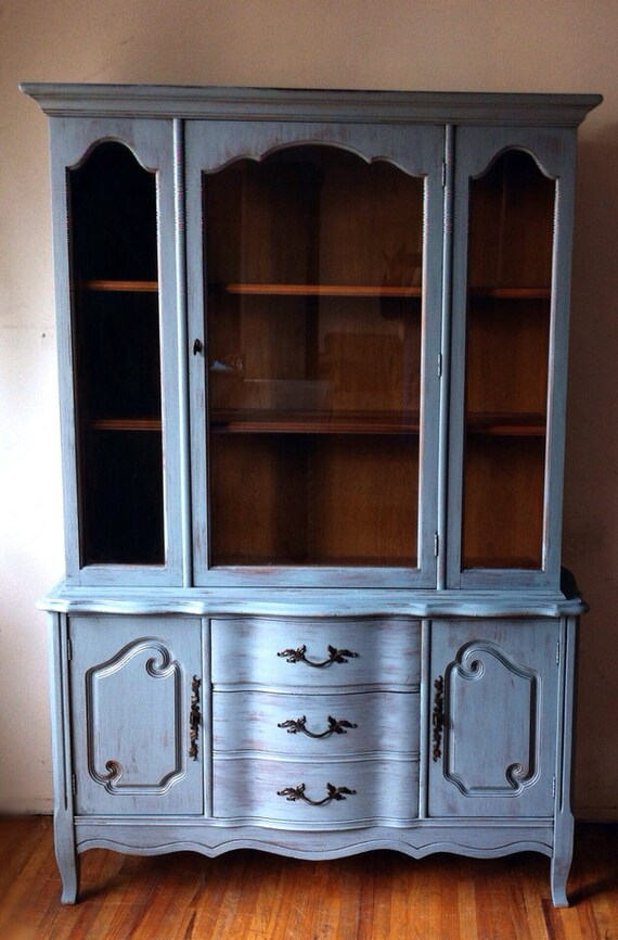Vintage Bassett Furniture Hand Painted Distressed Wood Shabby