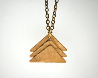 layered brass triangle necklace
