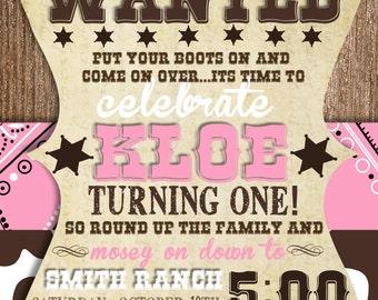 Custom Cowgirl First Birthday Invitation