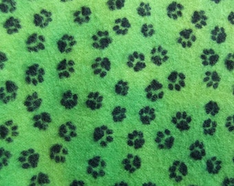 Fat Quarter Flannel - green/ black paw print