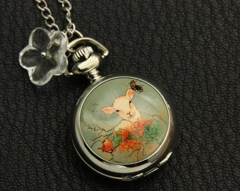 Necklace Pocket watch baby goat 2222m