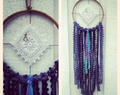 Dream Catcher with repurposed vintage doily and gold plated wishbone charm