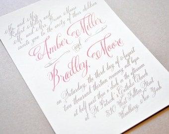 Wedding Invitation, Coral Wedding Invitations, Calligraphy Wedding Invitations, Wedding Invitations Set, Wedding Invitation Card
