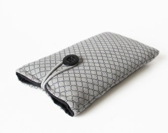 Case for iPhone, padded case, handmade fabric cover gray grey black patterned 6 4S 5 5S 5C
