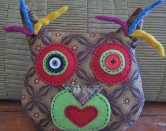 Stuffed fabric owl, wool, fabric, soft sculpture