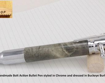 Bolt Action Bullet Pen Handmade Pen Chrome Buckeye Burl