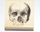 SKULL Skeleton Halloween Wood Mounted Rubber Stamp - 2013 RETIRED - Shop Closing