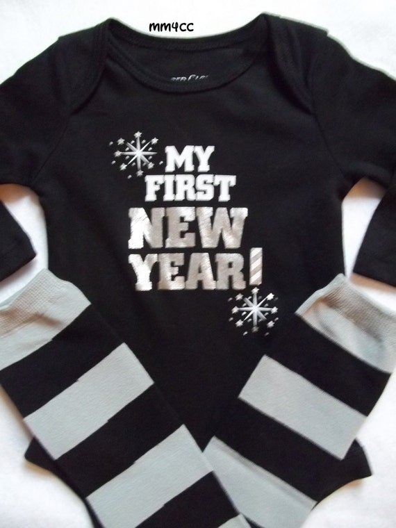 My First New Year 2014 Baby Boy Bodysuit Leg Warmers Black
