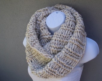 Long circle Knit infinity scarf, super chunky scarf in wheat color with flakes of brown and black color or SELECT COLOR, soft and warm
