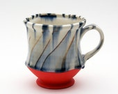 Handmade Porcelain Mug with Red Bottom & Grey-Black Twist Pattern