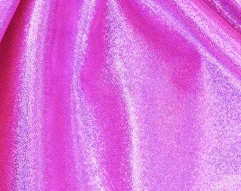 holographic Mystique spandex fabric Nylon lycra - stretch material HOT PINK  -  1/2 yard X 55 inches wide