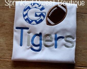 Custom Applique GO TEAM Football - Pick your team and colors! Memphis Tigers SEC Football Sports Boys Girls Shirt Baby Romper