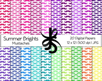 Digital Scrapbook Papers-Summer Brights Mustache Pattern-Mustaches Clipart-Bright-Backgrounds-Wallpaper-Printable-Instant Download Clip Art
