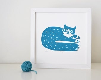 Cat Screen Print - Percy Cat Design in Teal - Hand Printed Limited Edition of 250