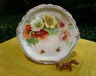 Antique Cake/Bakery Serving/Display Plate/Dish-Colorful Roses-Pink/Yellow/Orange/Red/Gold/White-Warranted