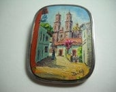 Museum Quality Enrique Ledesma Pin Diaz Oil Painting of the Santa Prisca Church in Taxco on Marble