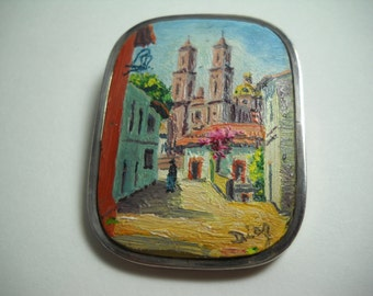 Taxco Museum Quality Enrique Ledesma Pin Diaz Oil Painting of the Santa Prisca Church in Taxco on Marble