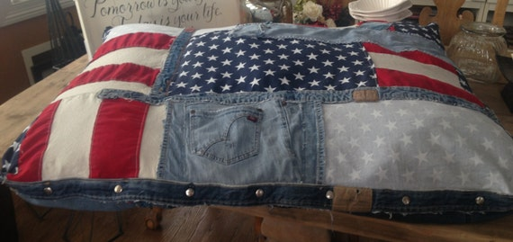 Dog Bed, Denim Dog Bed, Super Huge American Flag Dog Bed, American flag Dog Bed, American flag