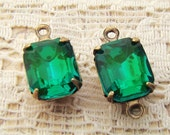 Vintage Glass Octagon Stones in Antique Brass Prong Settings 10x8mm Emerald Green Drop or Coonector