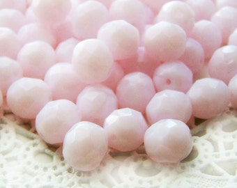 Czech Glass Faceted Pink Rose Alabaster 8mm Round Beads - 20