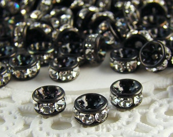 5mm Black Patina Preciosa Crystal Rhinestone Rondelle Spacers Beads - 10