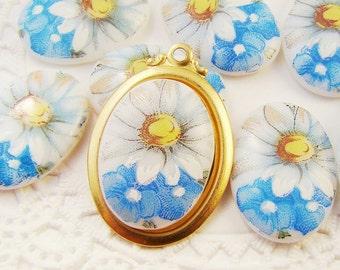 Vintage Daisy & Blue Flower 18x13mm Porcelain Glass Cabochons - 2