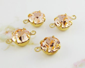 Pale Pink Peach 8mm Round Swarovski Crystal Stones Rhinestones Brass Prong Drop or Connector Settings - 4
