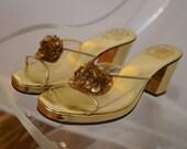 SALE 60s 70s Sandals / 1960s 1970s Margo Gold Sequined Beaded Clear Vinyl Open Toe Slides / Deadstock Vintage Sandals Size 6