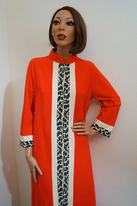 60s 70s Vanity Fair Red Robe With Leopard Print Trim 1960s