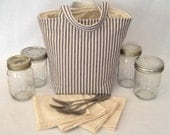 Pint 4-jar bag - Jars to Go bag blue ticking stripe mason canning jar lunch or picnic tote bag carrier