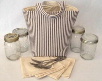 Custom Zero Waste Lunch or Shopping Bag, Pint Size, 4 Jar Carrier, Jars to Go Bag, Mason Jar Shopping Tote