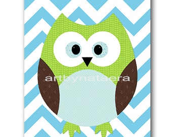 Owl Decor Owl Nursery Baby Nursery Decor Baby Boy Nursery Kids Wall Art Kids Art Baby Room Decor Nursery Print Owl  Blue Green Brown