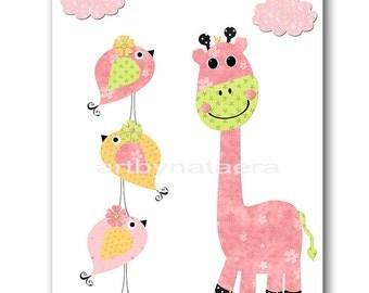Giraffe Nursery Kids Wall Art Kids Art Baby Girl Nursery Decor Baby nursery print children art print Nursery Print Girl Art rose yellow