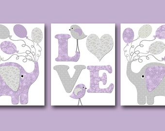 Kids Wall Art Elephant Nursery Bird Nursery Baby Girl Nursery Art Print Children Wall Art Baby Room Decor Kids Print set of 3 Lavender