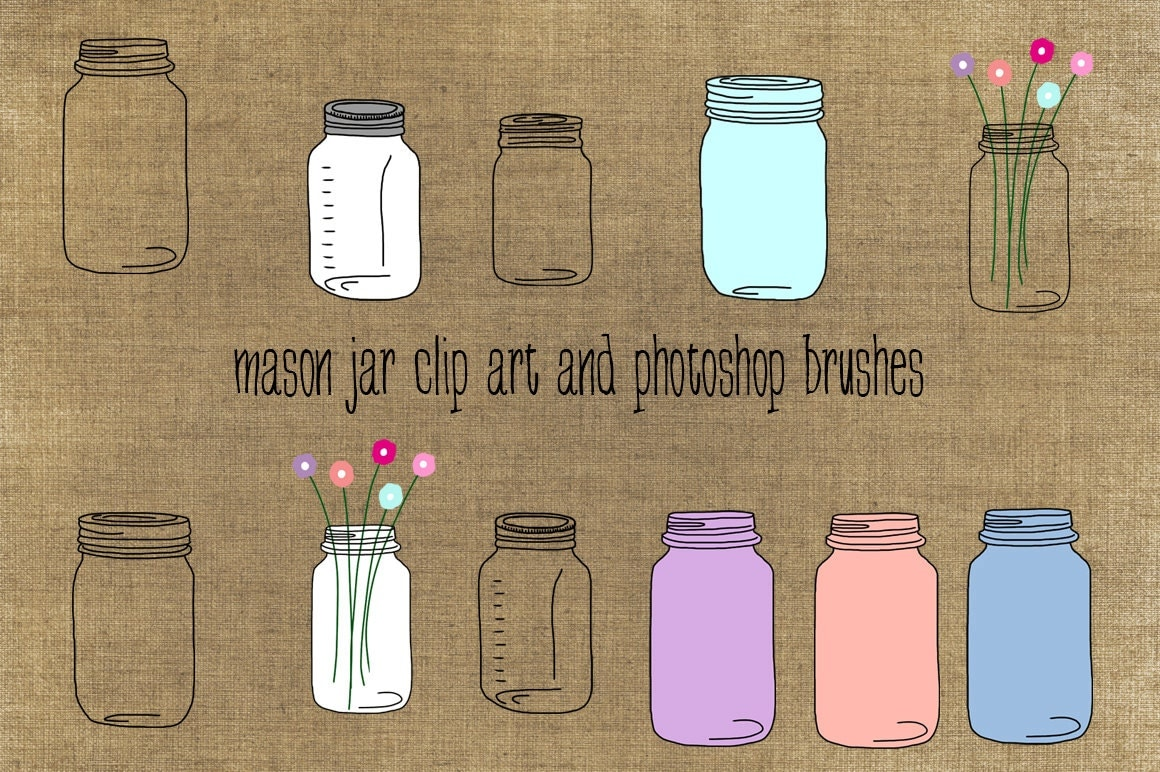 Blue Mason Jar Drawing Mason Jars Clip Art Instant