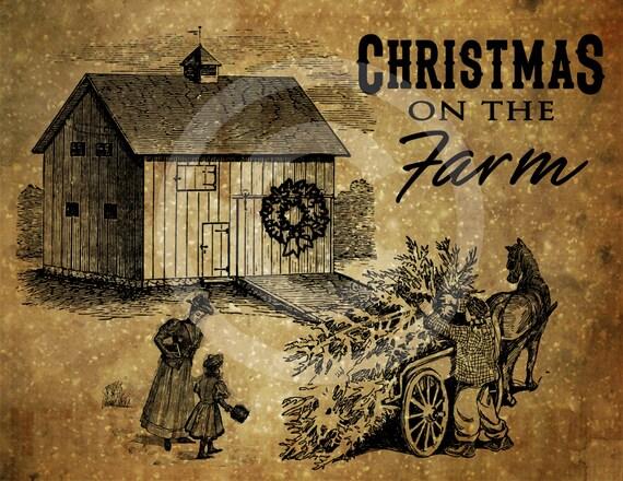 Primitive Christmas On The Farm Printable Digital Feedsack