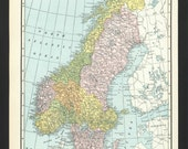 Vintage Map of Scandinavia From 1935 Original