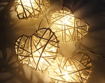 SALE 2 Sets of 20 White Heart Rattan Lover Fairy Lights String 3m Valentine Party Patio Wedding Floor Table Hanging Gift Home Decoration