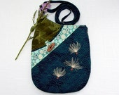 Small Shoulder Bag Quilted Fabric Purse with Embroidered Milkweed Seeds in Navy Blue and Moss Green