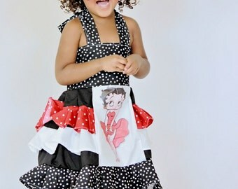 Betty Boop, OTT, Pageant, OOC, Boutique Style size Ruffle dress NB 3  6 9 12 24 months, size 2 3 4 5T
