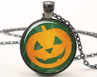 Halloween Necklace, Pumpkin Pendant, Jack-O'-Lantern Goth Jewelry (1719G1IN)