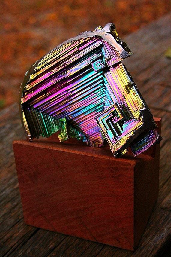Crystal Acoustics, HUGE Bismuth Metal Crystal, Iridescent, Fractal, Unique Art Metal Sculpture