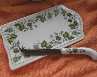 Green Vines and Blossoms Andrea by Sadek Cheese Tray NEW IOB