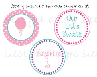 "Cotton Candy Party- 4"" Circles"